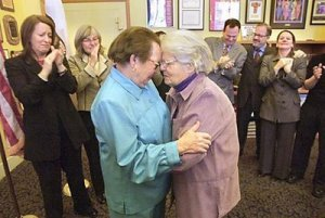 In February 2004, San Francisco began to issue marriage licenses to same-sex couples. Del Martin, 83, and Phyllis Lyon, 79, a couple that had been together for 51-years were the first to be married.